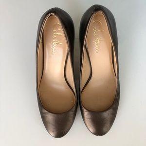 """COLE HAAN Bronze Metallic Leather Pumps, 3"""" heel"""